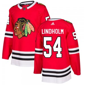 Anton Lindholm Men's Adidas Chicago Blackhawks Authentic Red Home Jersey