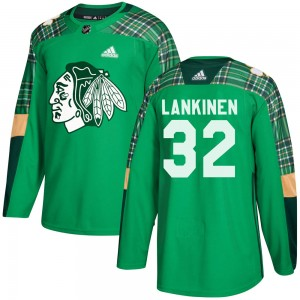 Kevin Lankinen Men's Adidas Chicago Blackhawks Authentic Green St. Patrick's Day Practice Jersey