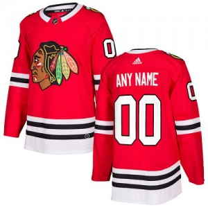 Custom Youth Adidas Chicago Blackhawks Authentic Red Home Jersey